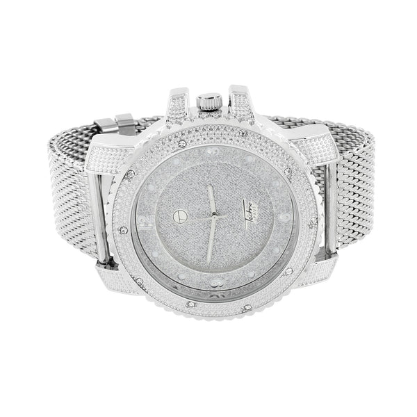 White Mesh Band Watch Custom Jojo Jojino Aqua Master Look Simulated Diamonds New