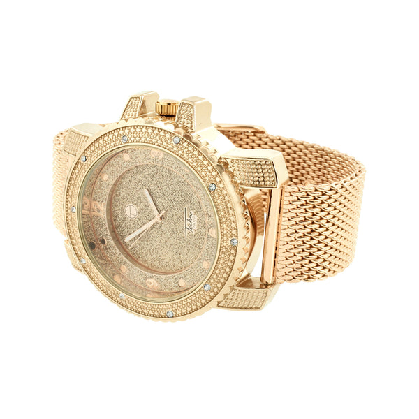 Rose Gold Finish Watch Mesh Bracelet Simulated Diamonds Stainless Steel Back Men