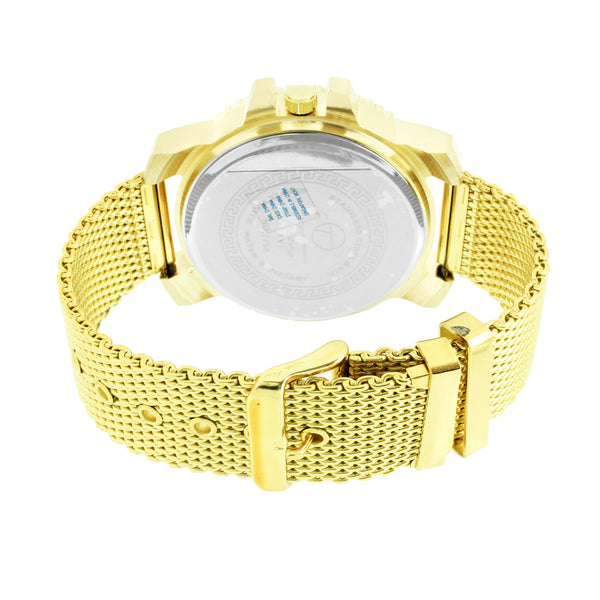 Simulated Diamond Watch Gold Finish Mens Mesh Band Water Resistant Classy Techno