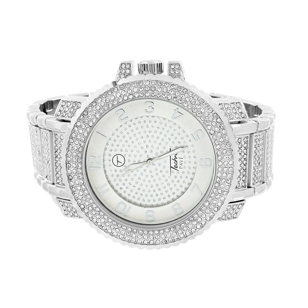 Simulated Diamonds Watch Iced Out Jojo Jojino Custom Style Stainless Steel Back