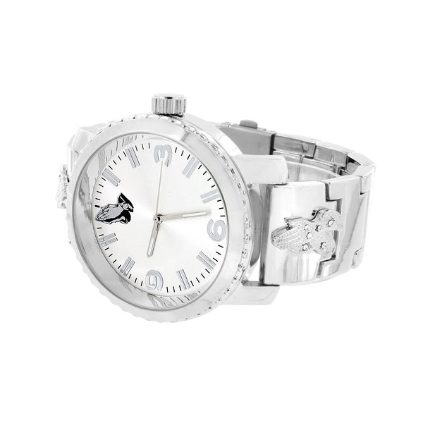 Praying Hands Dial Watch Metal Band White Dial Analog Water Resistant Unique