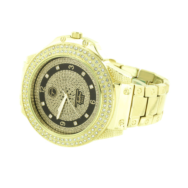 Screw Design Band Watch Simulated Diamonds Bezel Stainless Steel Back Hip Hop