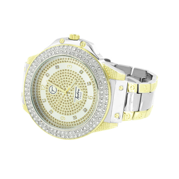 Mens 2 Tone Watch Gold White Simulated Diamonds Classy 59 MM Jumbo Case On Sale