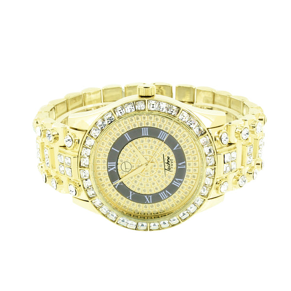 Gold Finish Mens Watch Princess Cut Bezel Simulated Diamond Iced Out Rapper Jojo