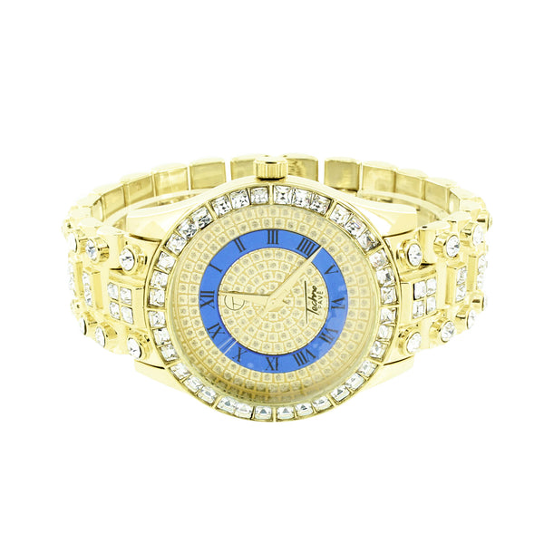 Gold Finish Watch Blue Gold Dial Roman Number Hour Mark Iced Out Custom Back New