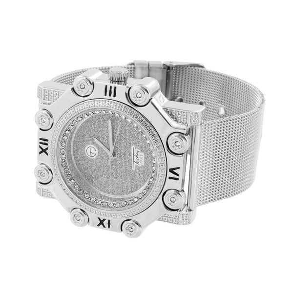 Mesh Band Watch Roman Hour Mark Bezel Illusion Dial Water Resistant Custom Jojo