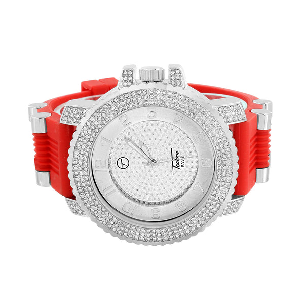 Red Bullet Design Band Watch Simulated Diamond Bezel White Dial Joe Rodeo Jojino