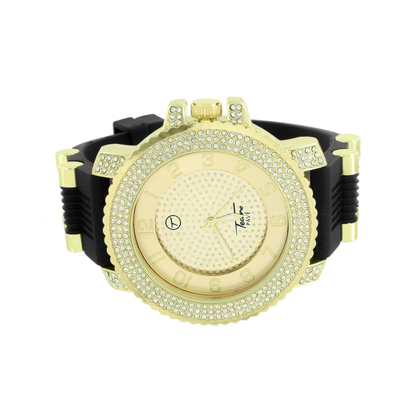 Simulated Diamond Watch Gold Finish Bullet Design Black Strap Jojo Jojino Aqua