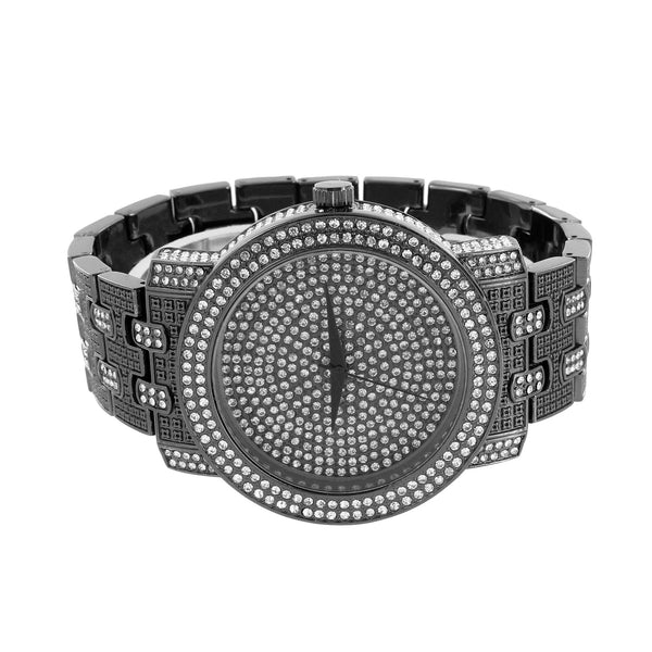 Simulated Diamond Custom Watch Black Finish Bling Stainless Steel Back Classy
