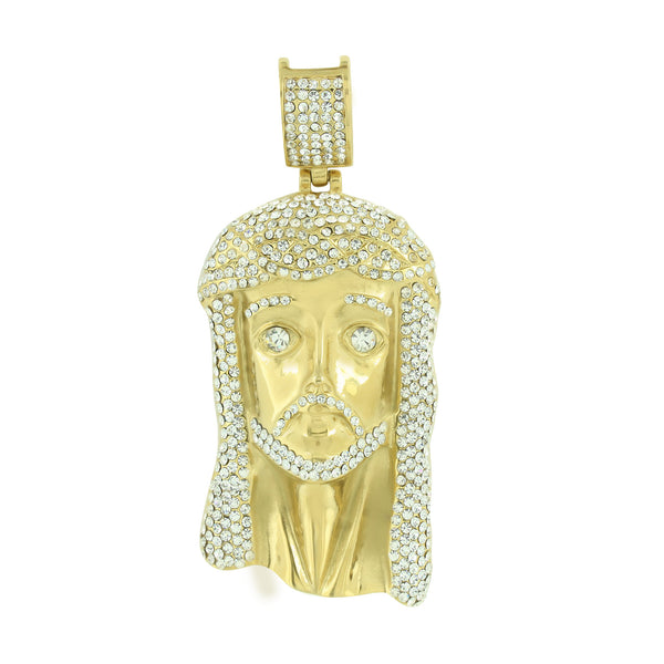 Stainless Steel Jesus Pendant Lab Diamonds Christ Face 14K Gold Finish
