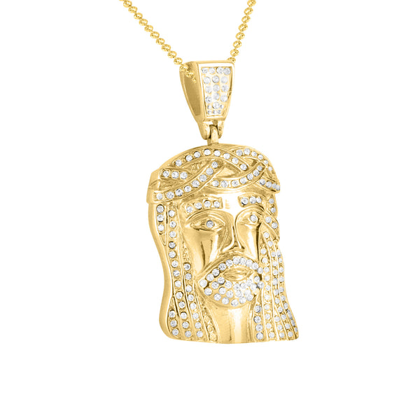 Yellow Gold Finish Jesus Face 316 Stainless Steel Pendant Charm Chain Set