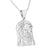 White Gold Finish Jesus Face 316 Stainless Steel Pendant Charm Chain Set