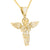 Yellow Gold Finish Stainless Steel Angel Pendant Moon Chain