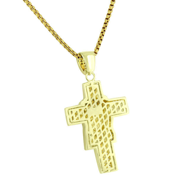 Jesus Face On The Cross Canary Designer With Simulated Diamond 14k gold finish 24