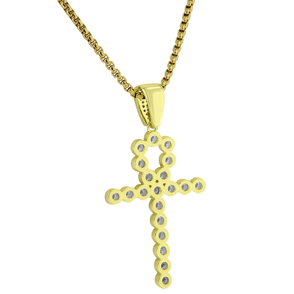Solitaire Ankh Cross Pendant Designer 14k Gold Finish Free Stainlesss Chain