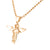 Rose Gold Finish Angel Stainless Steel Pendant Bead Necklace