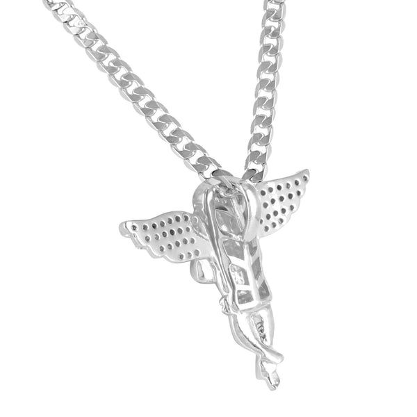 Praying Angel White Gold Finish Lab Diamond Pendant Chain Set