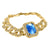 14K Yellow Gold Finish 28 MM Miami Cuban Aqua Blue Gemstone Bracelet