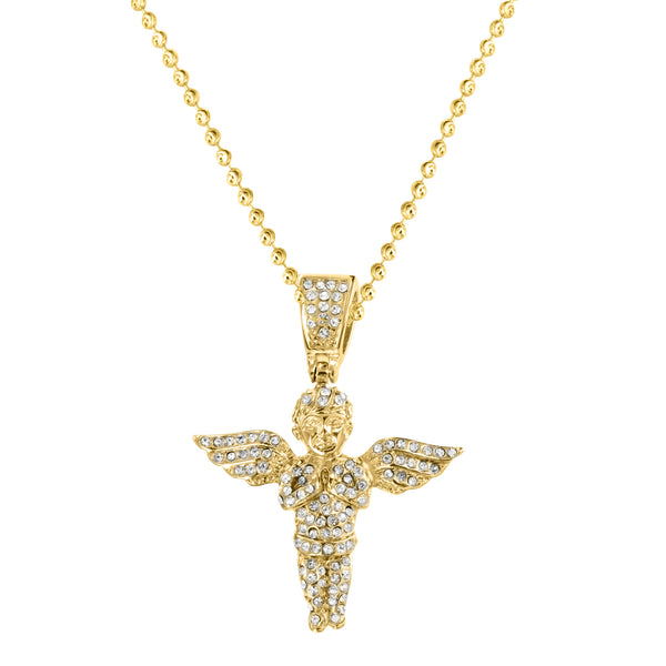 Yellow Gold Finish Lab Diamond Stainless Steel Angel Pendant Chain
