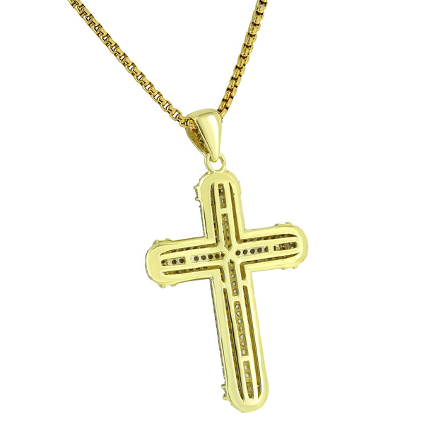 Cross Pendant 14K yellow Gold Finish With Simulated Diamond Free Stainless Neckalce
