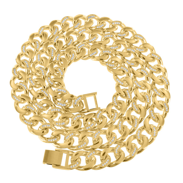Yellow Gold Finish Miami Cuban Link Mens Lab Diamond Elegant Necklace