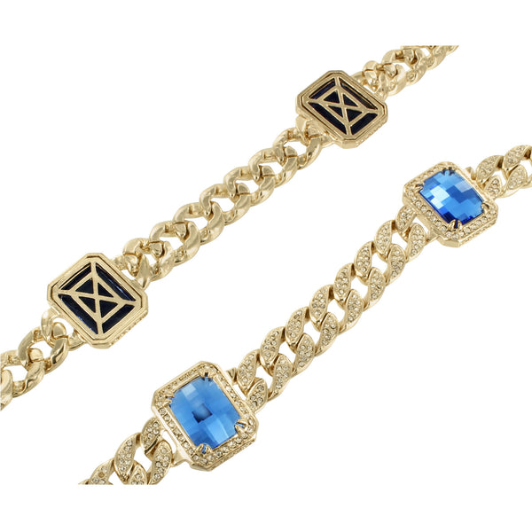 Miami Cuban Necklace Yellow Gold Finish Solitaire Cobalt Blue Stone