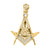 Yellow Gold Finish Simulated Diamond Masonic Symbol Pendant