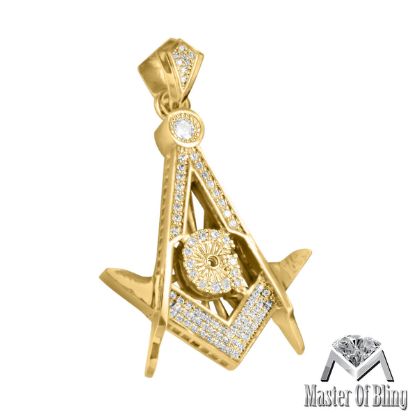 Simulated Diamond Freemason 14K Gold Finish Pendant