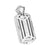 Simulated Diamond 14K White Gold FInish Dog Tag Mens Pendant