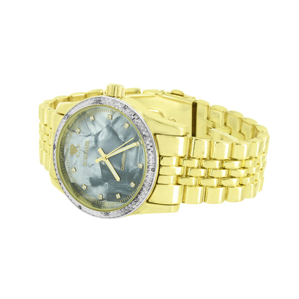 Gold Finish Diamond Watch Icetime Mother Of Pearl Dial Analog
