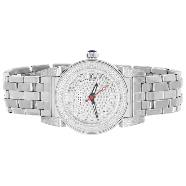 Aqua Master Watch Genuine Diamonds Stainless Steel International Warranty