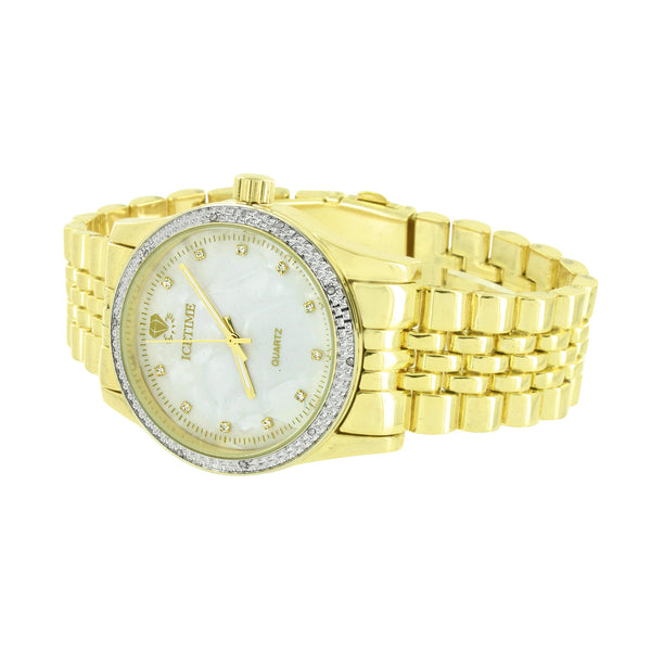 Genuine Diamond Men Watch Icetime MOP White Dial Jubilee Design Band
