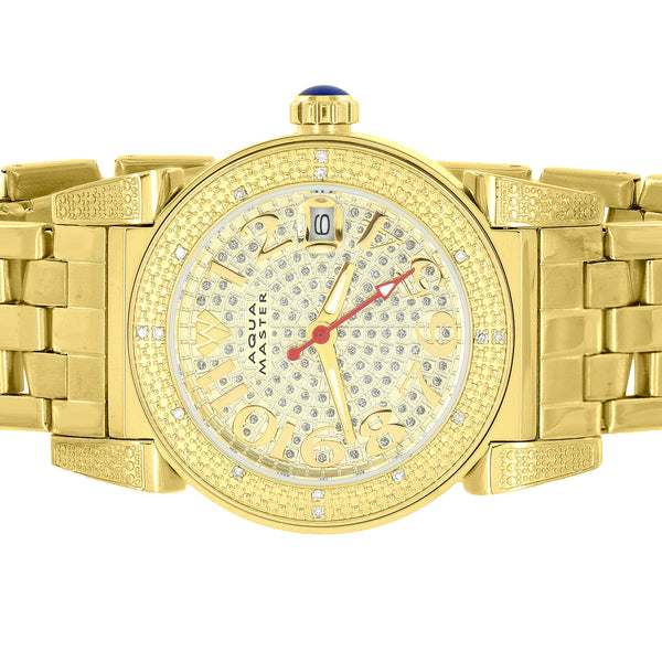 Yellow Gold Tone Watch Genuine Diamonds Aqua Master Womens Quartz Movement