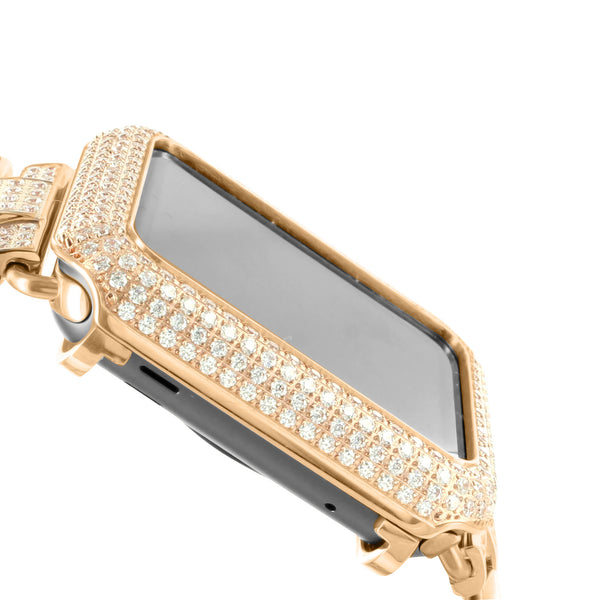 Rose Gold Tone Apple Watch With Lab Diamonds