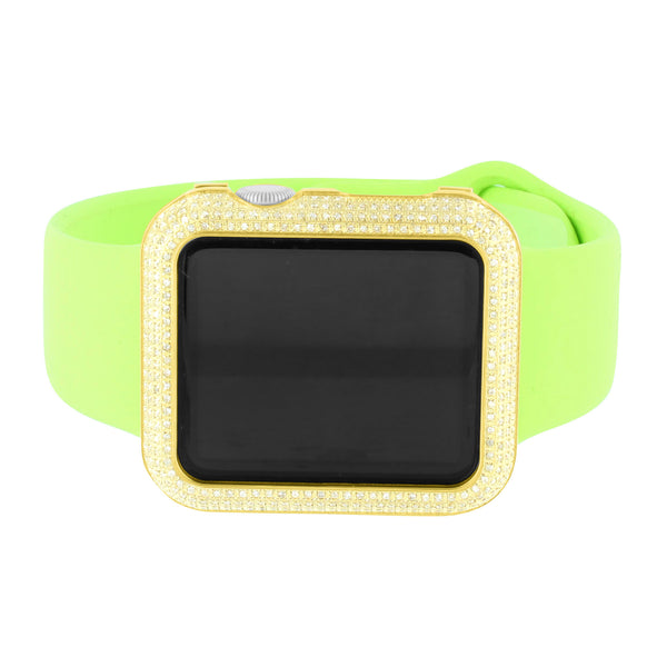 Lime Green Genuine Diamond Apple Watch With Silicone Band