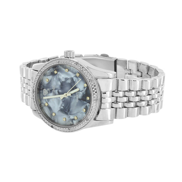 Mens Real Diamond Watches Icetime MOP Mother Of Pearl Dial Jubilee Design Band