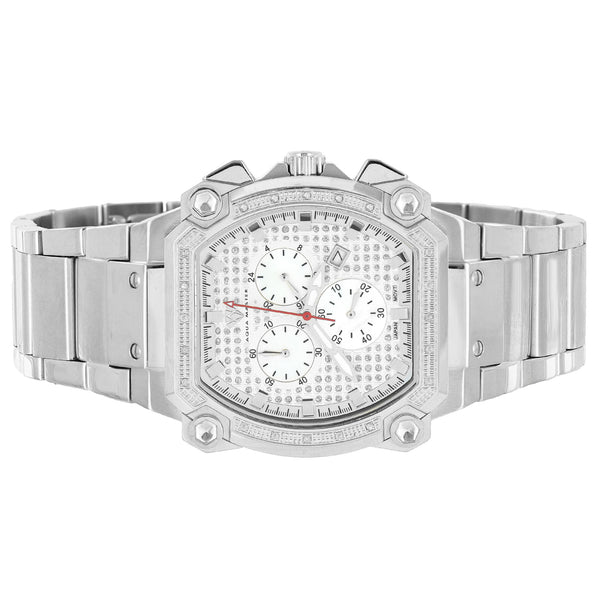 Stainless Steel Mens Watch Aqua Master Genuine Diamonds 0.70 Ct 3 Timezone