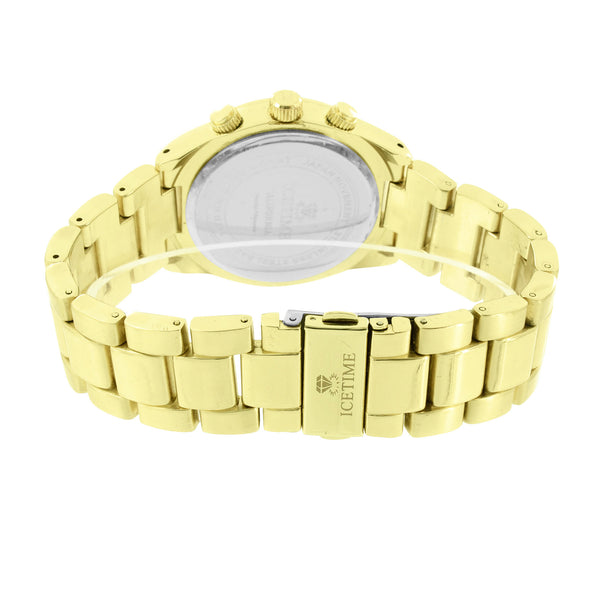 Mens Gold Finish Watch Genuine Diamond Icetime Water Resistant Analog