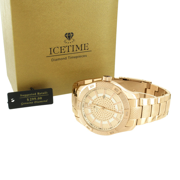Stainless Steel Icetime Watch Genuine Diamonds Rose Gold Finish
