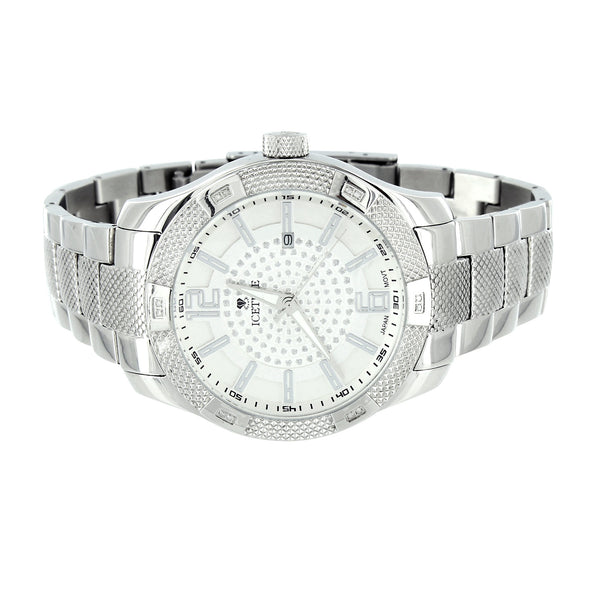 Mens Diamond Watches White Icetime Classic Stainless Steel White Dial