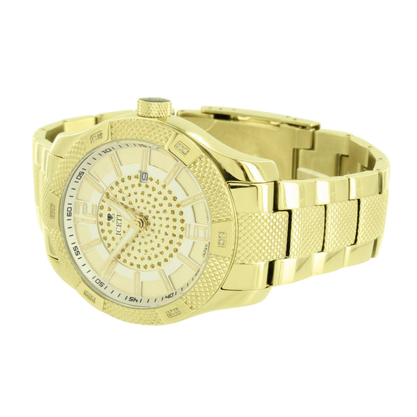 Mens Stainless Steel Watches Gold Finish Genuine Diamonds
