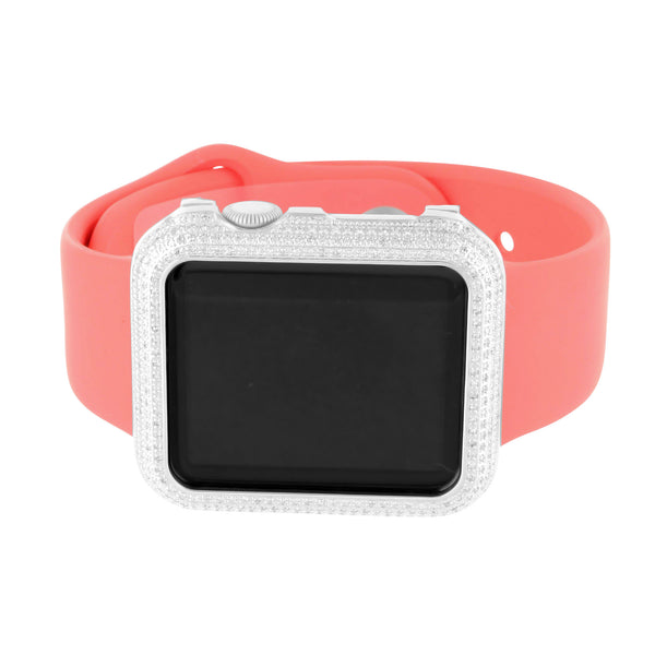 Pink silicon Band Genuine Diamond Apple Watch