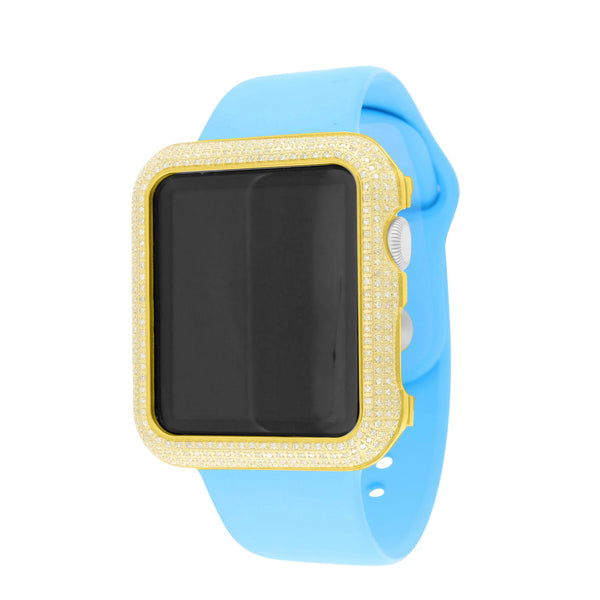 Blue Silicon Band Genuine Diamond Apple Watch