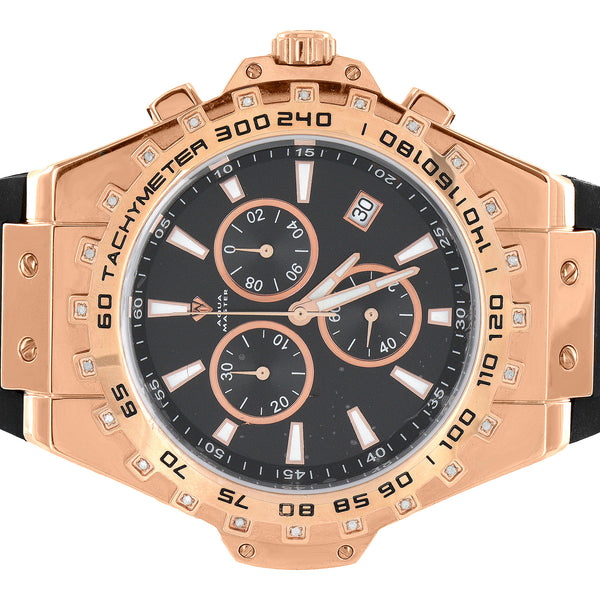 Tachymeter Watch Mens Aqua Master 3 Time Zone Rose Gold Tone Rubber Band