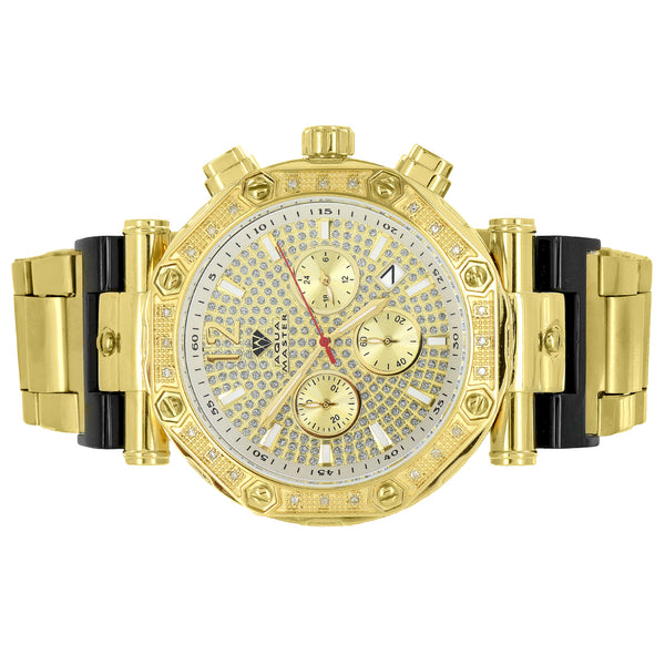 Gold Tone Diamond Watch Jojo Jojino Aqua Master 3 Timezone Stainless Steel