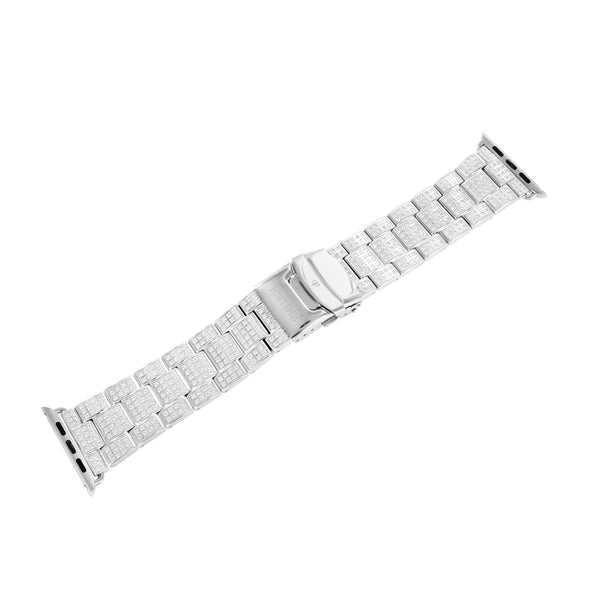 White Gold Finish Watch Band For Apple Watch