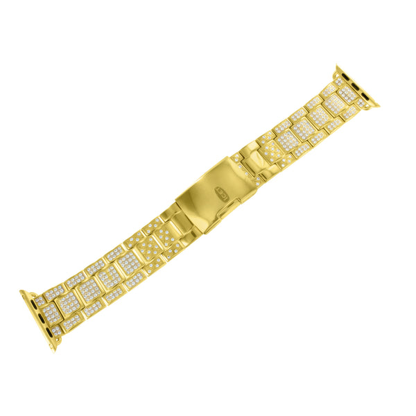 Yellow Gold Finish Watch Band For Apple Watch