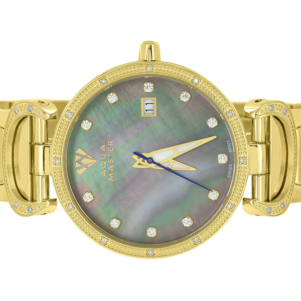 Mother Of Pearl Dial Watch Yellow Gold Tone Stainless Steel Aqua Master Diamonds