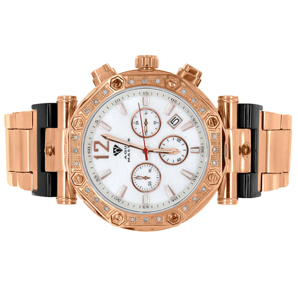 Screw Bezel Mens Watch MOP Dial Rose Gold Tone Genuine Diamonds