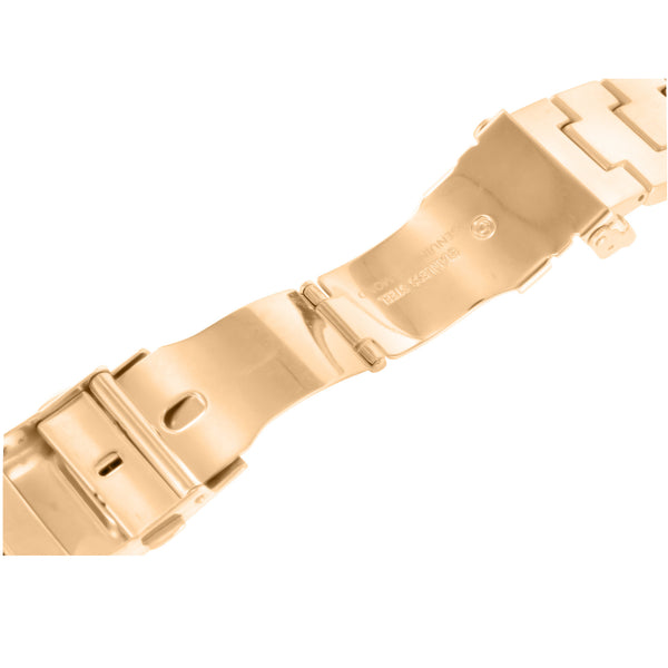 Mens Rose Gold Finish Metal Band For Apple Watch